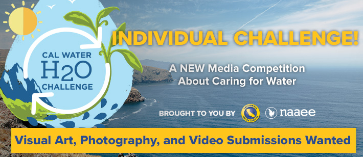 Introducing the Individual Challenge!  A New Media Competition About Caring for Water  Visual Art, Photography, and Video Submissions Wanted!   Brought to you by [Cal Water, NAAEE Logos]
